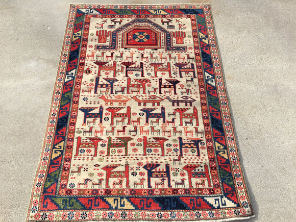 "New Azerbaijan Hand-Knotted Antique Recreation of 19th Century Caucasian Daghestan Prayer Rug.  3'7""x 5'"
