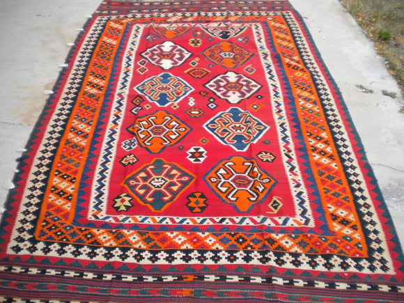 Semi-Antique Persian Ghashghai Kilim From the 1940's.