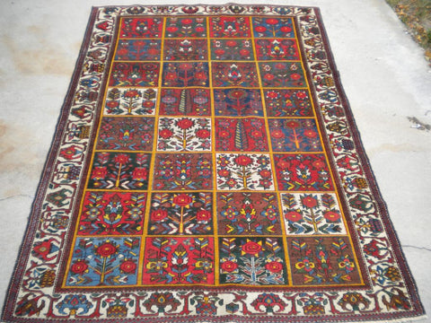 "Antique Persian Bakhtiari from the 1920's.       4'6""x 6'7"""