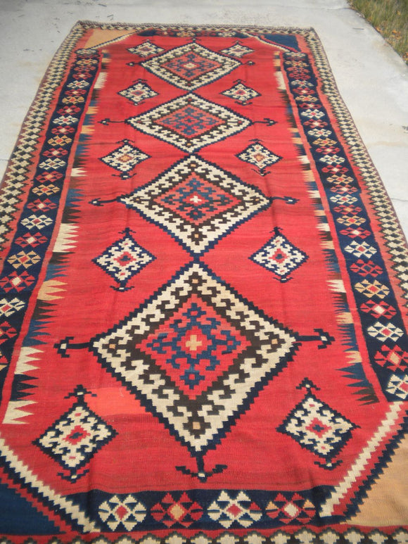 Antique Persian Luri Kilim From The 1920's.  5'10