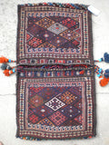 Antique Persian Bakhtiari Saddle Bag Rug Mixed Technique