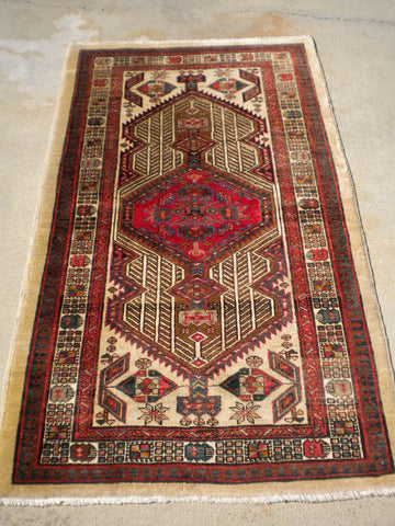 "Vintage Persian Hand-Knotted Village Hamadan Rug    3'2""x 5'4"""