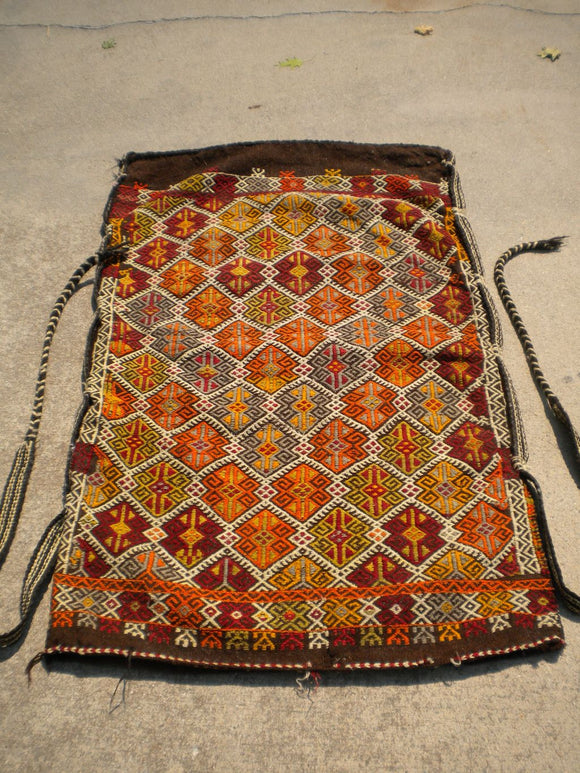 Vintage Turkish Grain Bag textile Rug. SOLD
