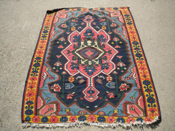 Semi-Antique Persian Bijar Kilim Rug
