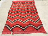 1890's Early Transitional Late Classical Navajo Rug   5'x 7'10""