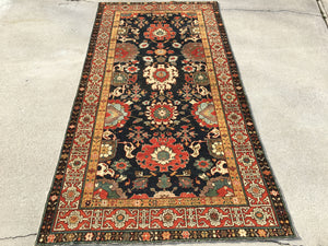 New Turkish Hand-Knotted Antique Recreation Of 19th Century Caucasian Harshang Design.   4'x 8'2""