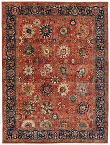 "New Pakistan Hand-Knotted Recreation of 17th Century Persian Vase Carpet. 9'4""x 11'9"""