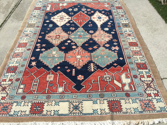 "Used Turkish Azeri Hand-Knotted Oriental Carpet  6'10""x 9'7"""