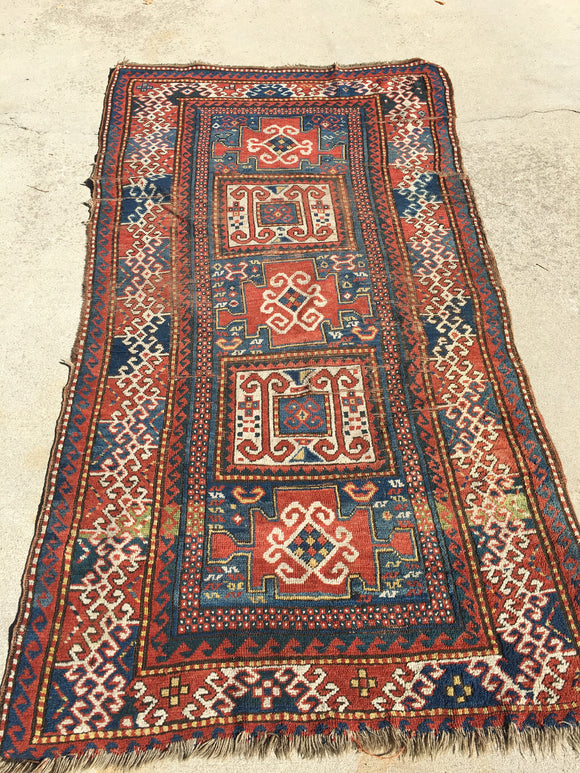 Late 1800's Antique Caucasian Tribal Rug       3'9