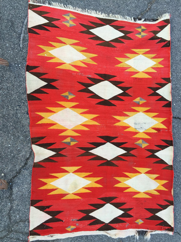 Antique Transitional Navajo Rug with Ganado Influences        4'4