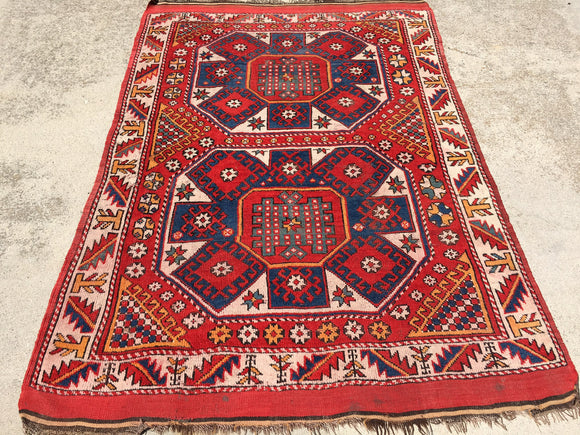 Antique-Vintage Turkish Bergama Village Rug Circa 1940's       4'10