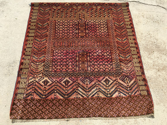 Vintage Turkoman Tribal Rug   4'4