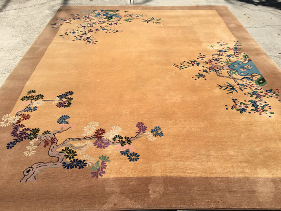 Vintage Art Deco Chinese Oriental Carpet   9'x 11'4