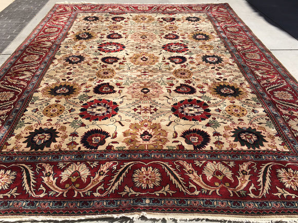 New India Hand-Knotted Antique Recreation of Persian 19th Century Mahal  10'5