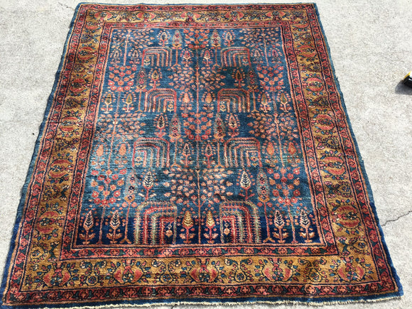 Antique Persian Lilihan Hand-Knotted Village Rug     5'x 5'10