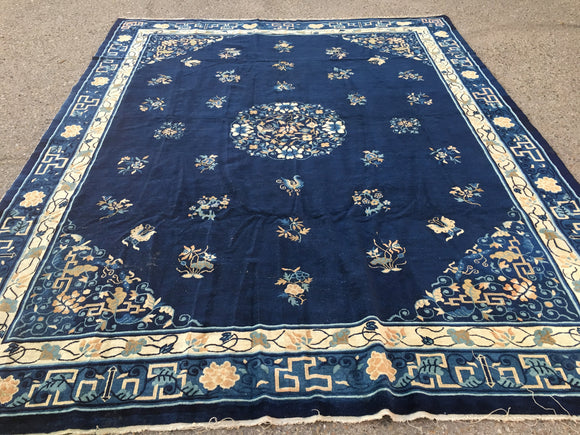 1890's Antique Hand-Knotted Peking Chinese Carpet  8'10