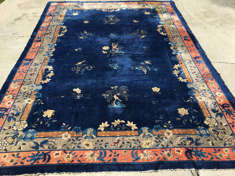1900's Antique Hand-Knotted Chinese Peking Carpet   11'x 15'5""