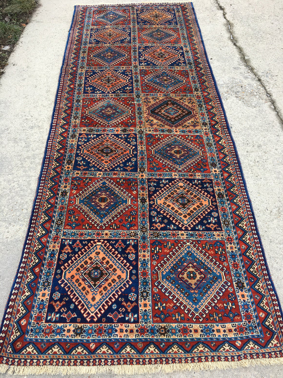Vintage Persian Hand-Knotted Yalameh Runner 3'7