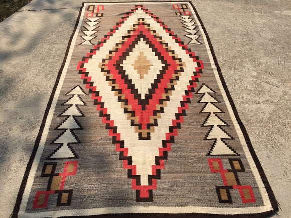 Antique Regional Navajo Rug Large Nice  5'x 9'6