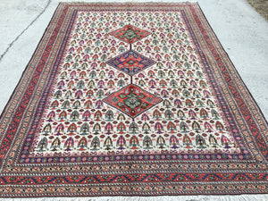 "Vintage Persian Hand-Knotted Ardebil Oriental Rug  6'8""x 9'"