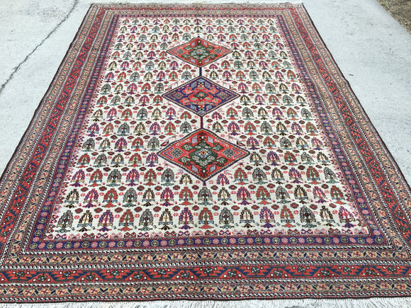 Vintage Persian Hand-Knotted Ardebil Oriental Rug  6'8