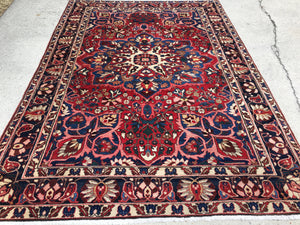 "Vintage Persian Hand-Knotted Bakhtiari Oriental Rug  6'10""x 10'3"""