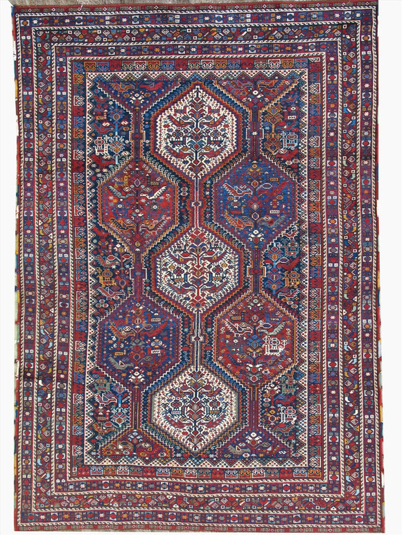 Antique Persian Khamseh Tribal Rug    5'5