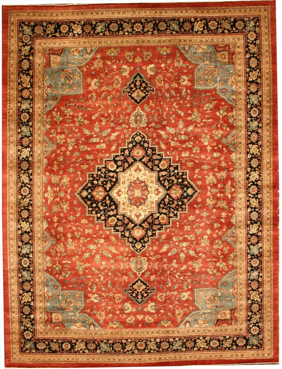 "New Pakistan Hand-woven Antique Reproduction of a 19th Century Persian Ferahan Carpet  10'5""x 13'11"""