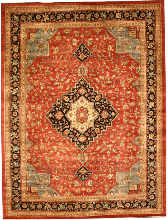 New Pakistan Hand-woven Antique Reproduction of a 19th Century Persian Ferahan Carpet  10'5