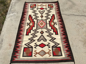 Antique JB Moore Navajo Rug Crystal Trading Post Storm Pattern   SOLD