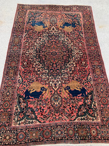 "1890's Antique Hand Knotted Persian Ferahan Oriental Rug. 6'7""x 4'1"" SOLD"