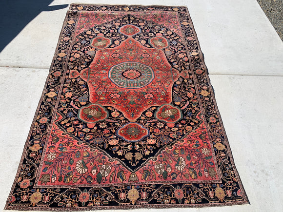 "1890's-1900's Antique Persian Ferahan Oriental Rug 4'3""x 6'9"""