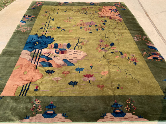 "Antique Art Deco Hand Knotted Oriental Rug. 9'x 11'6"" SOLD"