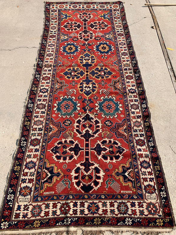 Late 1800's Antique Rare Type Of Shirvan Caucasian Oriental Rug 4'x 10' SOLD