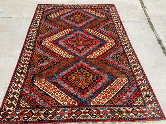 New Afghanistan Hand Knotted Antique Reproduction of 19th Century Baluch. 6'x 8'6""