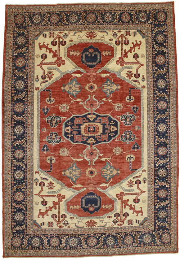 New Afghanistan Hand Knotted Antique Recreation Of Persian 1800's Serapi.  12'x 17'5""