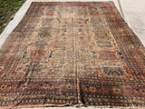 "1870's Antique Distressed Hand Knotted  Persian Ziegler Sultanabad Oriental Rug  10'6""x 14'"