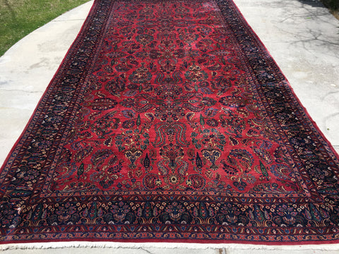 "Antique Hand-Knotted Persian Sarouq Sarouk Oriental Carpet  12'4""x 23'8"""
