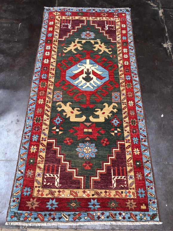 "New Afghanistan Hand Knotted Antique Recreation of 18th Century Caucasian Oriental Rug 6'6""x 3'2"""