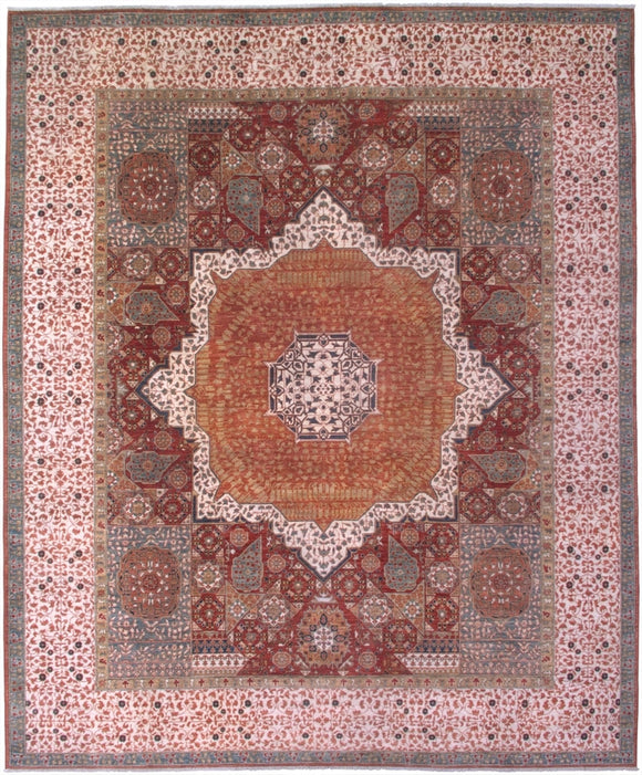 New Pakistan Hand-woven Antique Reproduction of an Egyptian Mamluk Carpet     8'3