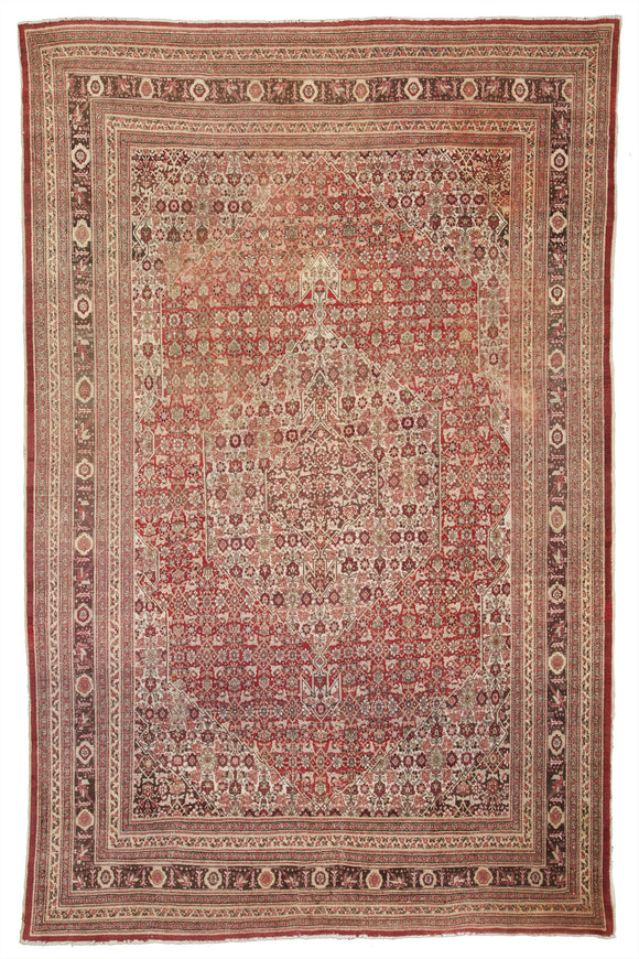 Antique Persian Tabriz Carpet           9'5