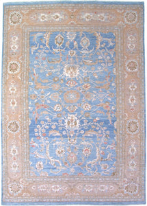 "New Pakistan Hand-woven Antique Reproduction of a 19th Century Persian Sultanabad Carpet   9'9""x 13'6"""