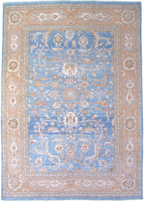 New Pakistan Hand-woven Antique Reproduction of a 19th Century Persian Sultanabad Carpet   9'9