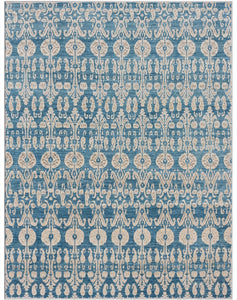 "New Pakistan Hand-woven Antique Reproduction of 19th Century Ikat Textile Carpet    8'10""x 11'7"""