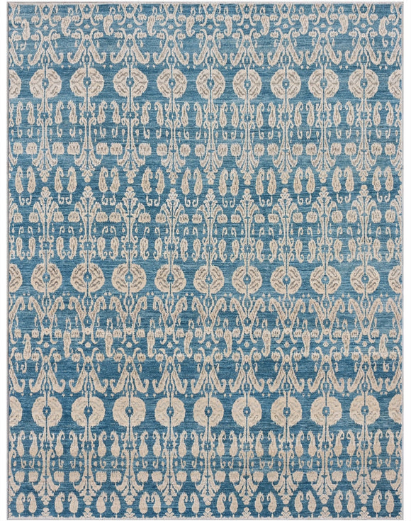 New Pakistan Hand-woven Antique Reproduction of 19th Century Ikat Textile Carpet    8'10