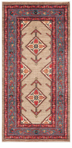 Afghanistan New Hand-Knotted Antique Recreation of a 19th Century Persian Serab.