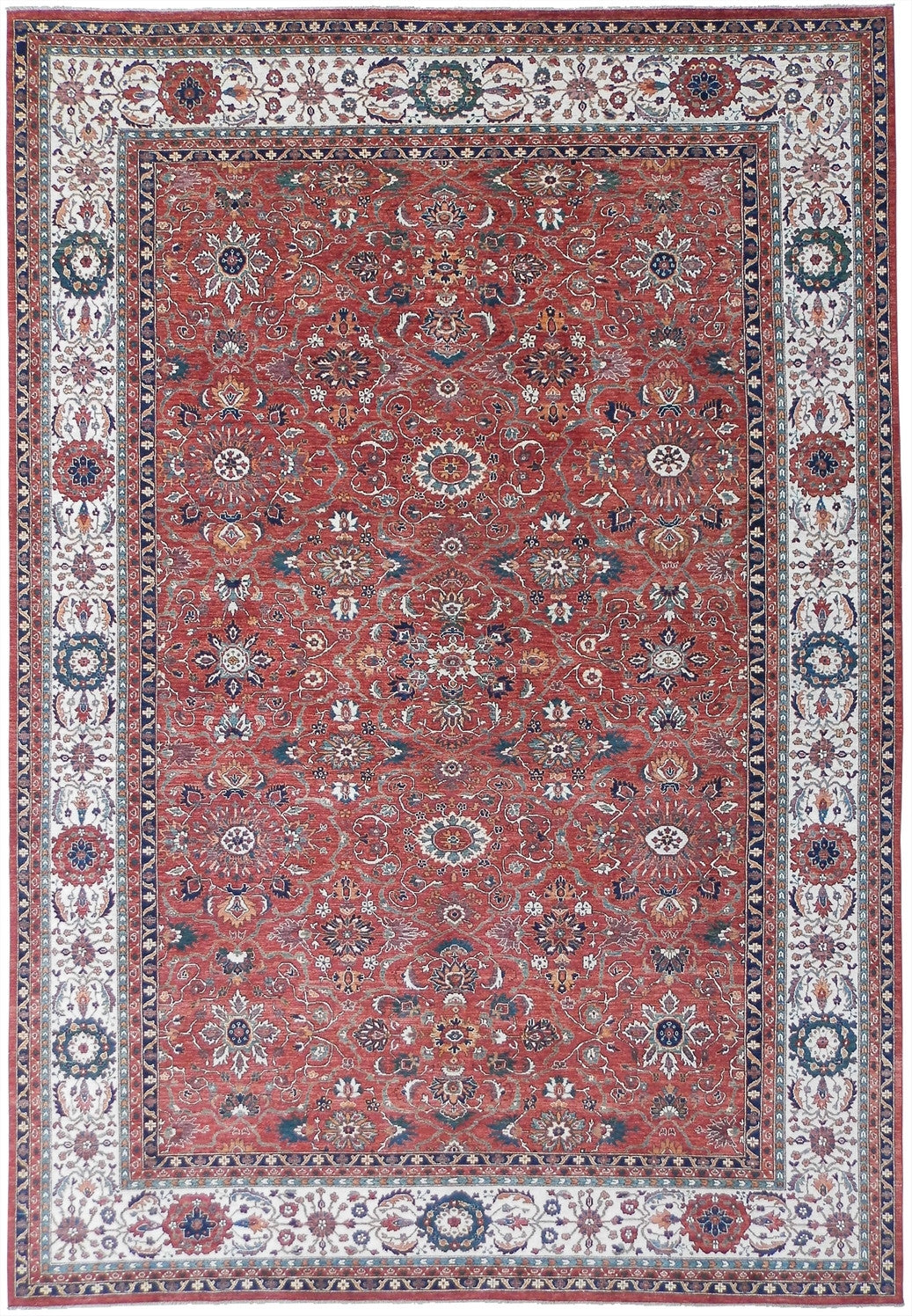 "New Pakistan Hand-woven Antique Reproduction of a 19th Century Ferahan Carpet  12'1""x 17'9"""