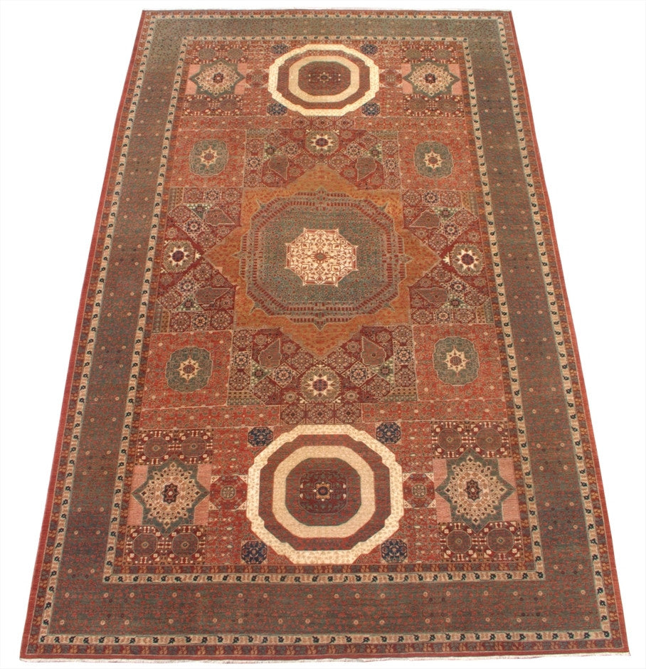 New Pakistan Hand-woven Antique Reproduction of a Mamluk Carpet