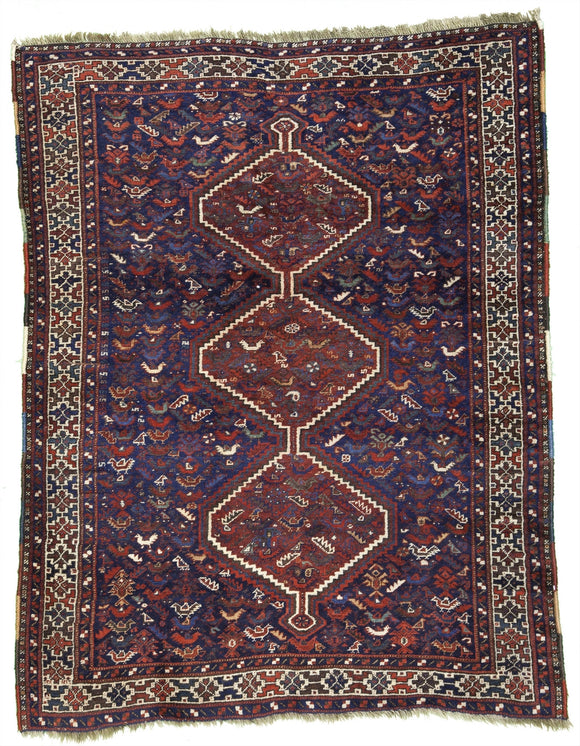 Antique Persian Khamseh Tribal Rug    4'4