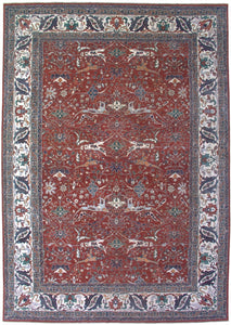 New Pakistan Hand-woven Antique Reproduction of a 19th Century Persian Bijar Garrus Carpet   12'x 17'2""